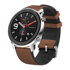 Smartwatch Amazfit GTR 47MM Carcasa Otel Inoxidabil si Curea Maro
