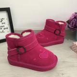 Cizme imblanite roz cu inimioare de iarna fete copii 26 27 28 29 30