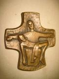 A649-Aplica Maria cu Iisus dupa rastignire bronz masiv.