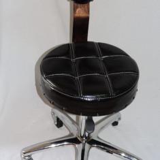 Taburet cu spatar vintage pentru salon