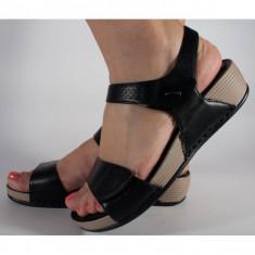 Sandale platforma negre cu gel pe talpa (cod 508033)