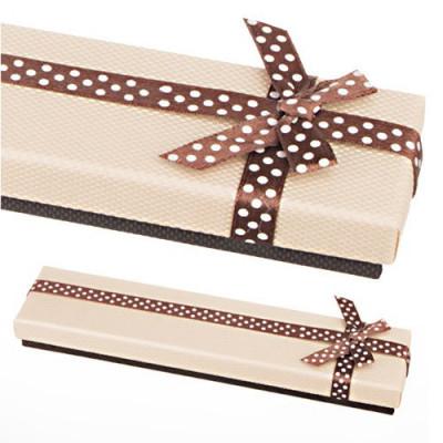 Cutie de cadou pentru lanț - bej și maro, fundă cu buline foto