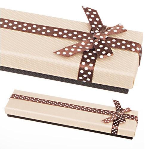 Cutie de cadou pentru lanț - bej și maro, fundă cu buline