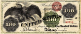 100 dolari 1863 Reproducere Bancnota USD , Dimensiune reala 1:1