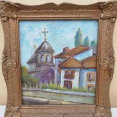 """Tablou, pictură în ulei pe placaj, """"Biserica veche"""". Dimensiuni  38x34 de cm."""
