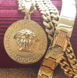 SET Lant +medalion  +bratara INOX placat model MEDUSA
