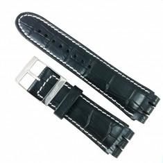 Curea Ceas Swatch Piele Natural? Neagra 26mm - 22mm