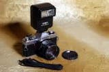 Aparat foto Minolta XG1 cu blitz Minolta Auto 280PX. Made in Japan., Konica Minolta