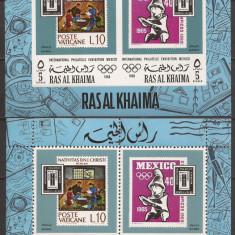 RAS AL KHAIMA SPORT J.O. DE VARA 1968 ( 2 colite dt. + ndt. ) MNH