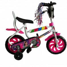 "Bicicleta Copii Vision Pexma Culoare Alb/Roz Roata 12"" OtelPB Cod:201218000108"