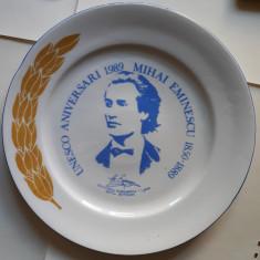 Farfurie decorativa - Mihai Eminescu / Aniversari UNESCO - 1989