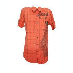 Camasa casual, rosie, cu design de carouri si imprimeu
