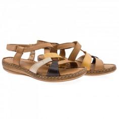 Sandale dama din piele naturala Caspian Cas-459-T453-TAB-KAH-SAR