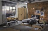 Cumpara ieftin Set Mobila dormitor din pal si metal, pentru tineret 5 piese Wood Metal Natural / Negru, 200 x 120 cm