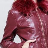 Jacheta visinie,piele ecologica,blanita detasabila, Visiniu