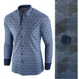 Camasa pentru barbati albastru premium flex fit casual hypnotic
