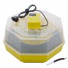 Incubator electric pentru oua cu dispozitiv intoarcere si termometru Cleo model 5DT briceag cadou