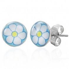 Cercei din oţel chirurgical cu o floare albă
