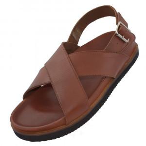 Sandale barbati, din piele naturala, marca KicKers, 694360-60-04-134, camel , marime: 45