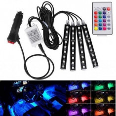 Lumini led RGB auto interior multicolor cu telecomanda