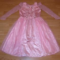 costum carnaval serbare rochie printesa aurora barbie pentru copii de 5-6 ani