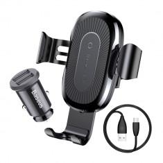 Set Baseus Suport Auto cu Incarcare Wireless + Priza Auto Dual USB Fast Charge 3.1A