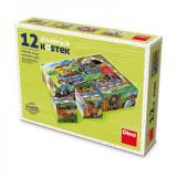 Cumpara ieftin Puzzle din lemn, cuburi, Locomotiva, 12 buc, 6 imagini posibile