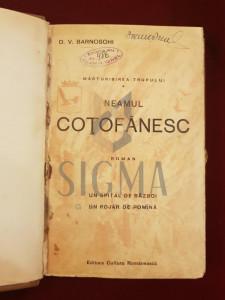 BARNOSCHI DIMITRIE VASILIU - NEAMUL COTOFENESC (Roman), 1930, Bucuresti