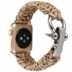 Cumpara ieftin Curea pentru Apple Watch 44 mm iUni Elastic Paracord Rugged Nylon Rope, Cream