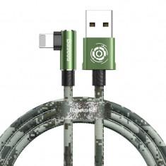 Cablu de date/incarcare Baseus, Camouflage Elbow USB / Lightning, 1.5A 2M, Verde