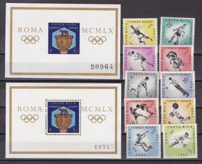 Costa  Rica 1960  sport  olimpiada  MI 570-579 + 2 bl.580A+B  MNH  w60 foto