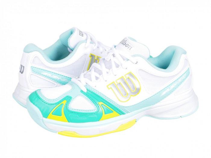 Adidasi tenis dama Wilson Rush Evo W white-blue-yellow WRS320750