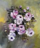 Tablou ulei (25/30cm)-TRANDAFIRI, Flori, Impresionism