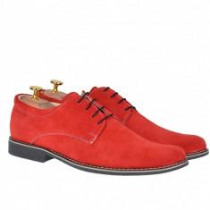 Pantofi barbati rosii, casual - eleganti din piele naturala intoarsa - PARVEL