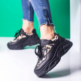 Pantofi sport dama negri cu animal print Vazzy