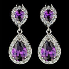 Cercei placati cu Aur 18K si Diamante, Afrodita Classic Purple