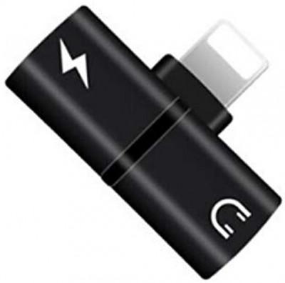 Mini Adaptor Lightning Splitter iUni dual port, pentru casti si incarcare iPhone, Black foto
