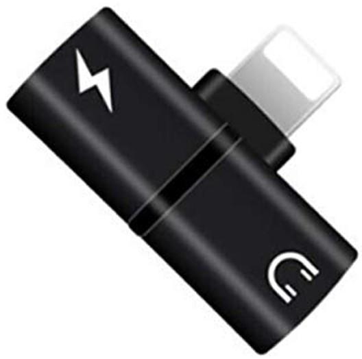 Mini Adaptor Lightning Splitter iUni dual port, pentru casti si incarcare iPhone, Black