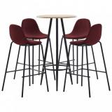 Set mobilier de bar, 5 piese, roșu vin, material textil, vidaXL