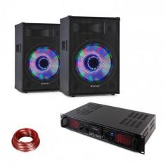Fenton LED15BT, DJ PA set, 2 boxe PA Fenton, amplificator HiFi skytec, cablu de difuzor
