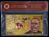 A1768 100 lei 2005 UNC Fantezie Aurita Aur Gold 24K