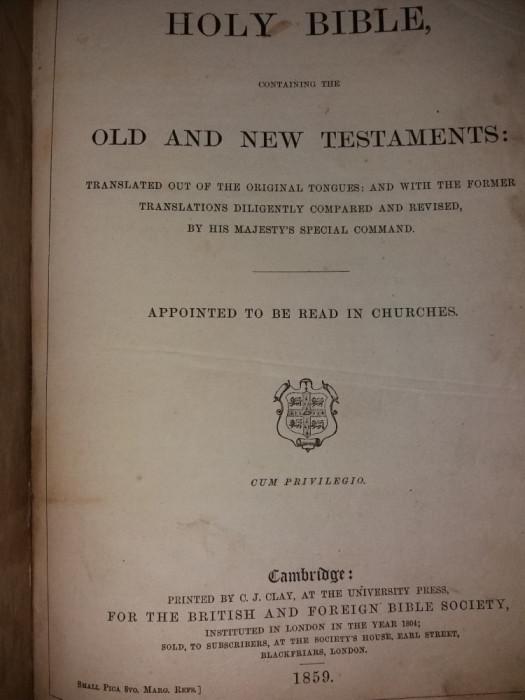 HOLY BIBLE - BIBLIA - NOUL SI VECHIUL TESTAMENT {1859}