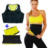 Set Fitness Bustiera + Centura Hot Shapers din Neopren pentru Slabit si Modelare Corporala, Marimea M