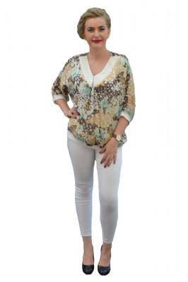 Bluza eleganta din voal cu imprimeu de buline multicolore foto