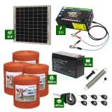 Pachet gard electric cu Panou solar 3,1J putere și 4000m Fir 80Kg cu acumulator