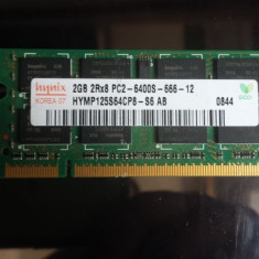 SODIMM DDR2 2GB 2Rx8 PC2-6400S 800MHz, Hynix HYMP125S64CP8-S6 AB (sau kit4gb)