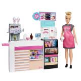 Set Cafeneaua Barbie cu papusa si 20 de accesorii, Mattel