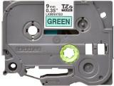 Banda continua laminata Brother TZE721 9mm 8m Negru pe Verde