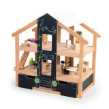 Casuta papusi pentru fetite Tidlo, lemn, mobilata, 80 x 44 x 76 cm, 3 ani+