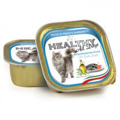 Pate Pisica, Healthy All Days, cu peste si creveti, 100g
